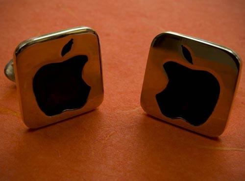 apple logo cufflinks