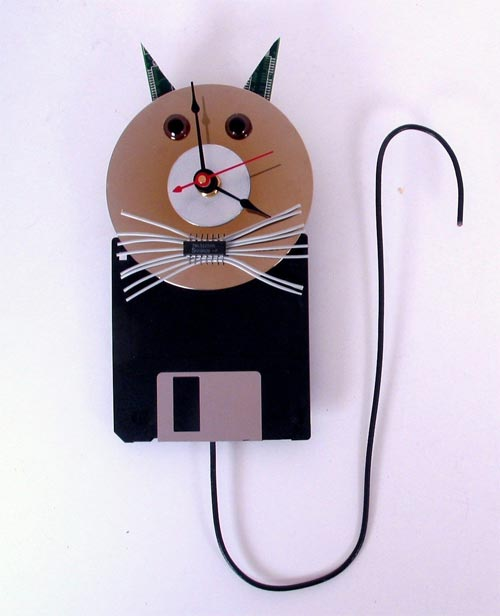Geek Clocks The Recycled Computer Cat Wall Clock