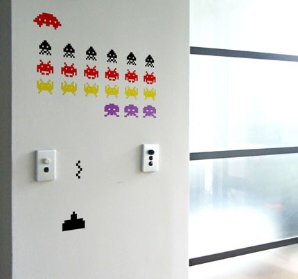 space invaders wall decals www imgarcade com online space invaders wall sticker set large gaming wall decals