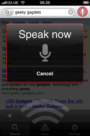 google voice search iPhone App