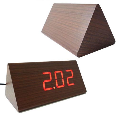 Wooden Triangle LED Clock