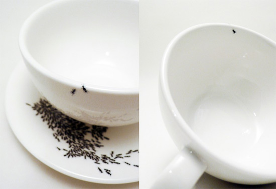 Ants on my cup and saucer