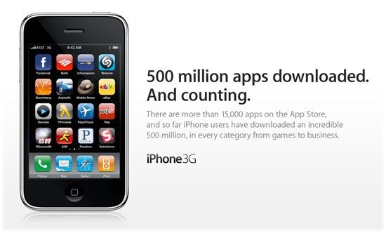 iPhone App Store hits 500 Million Downloads