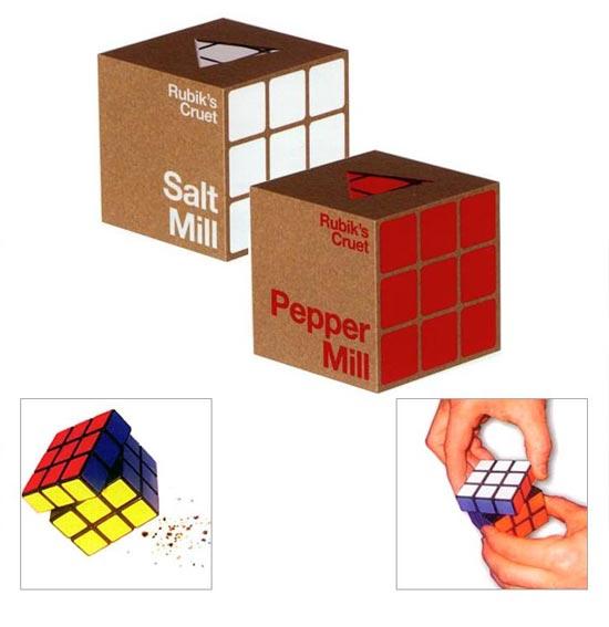 Rubik's Cube Salt and Pepper Mills