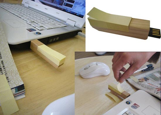 Wooden Post It USB Drive