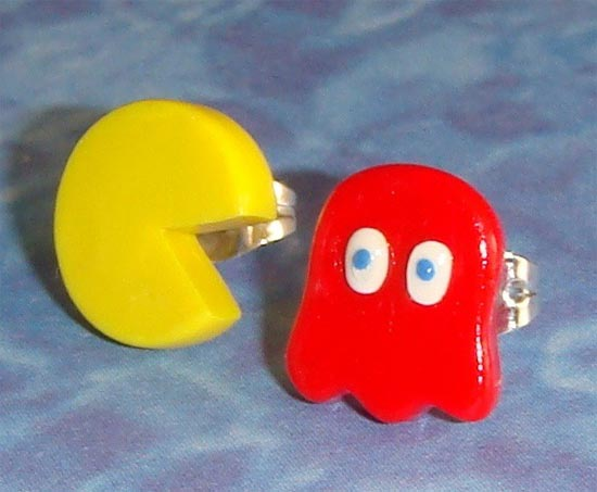 Pacman and Ghost Stud Earrings