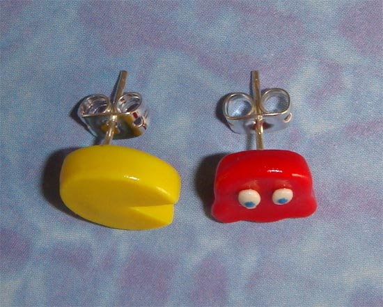 Pacman and Ghost Stud Earrings