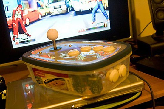 tupperware ps2 arcade stick