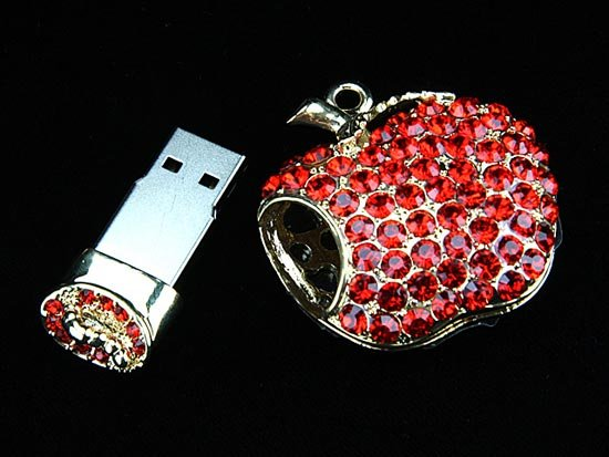 Jeweled Apple USB Drive Pendant