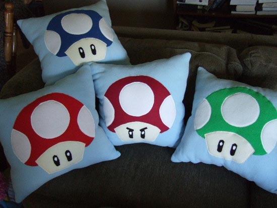 Super Mario Bros Mushroom Pillow Set