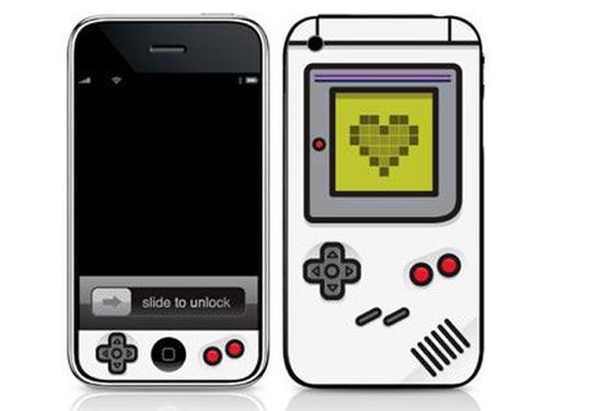 monochrome gameboy iphone skin