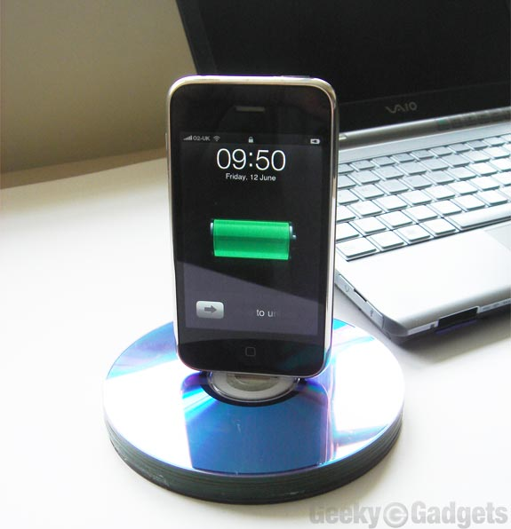 Recycled CD iPhone Dock