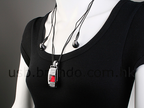 USB Jewel Square Necklace MP3 Player
