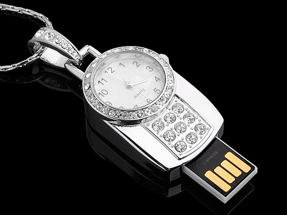 USB Jewel Watch Necklace Flash Drive