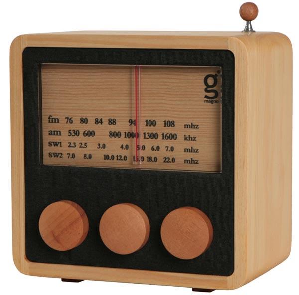 Magno Cube Wooden Radio