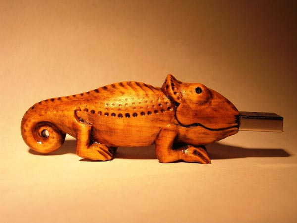 Handcrafted Wooden Chameleon USB Drive