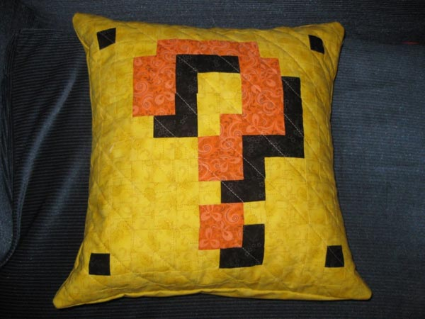 Super Mario Bros Question Mark Pillow