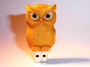 Handmade Wooden Owl USB Drive
