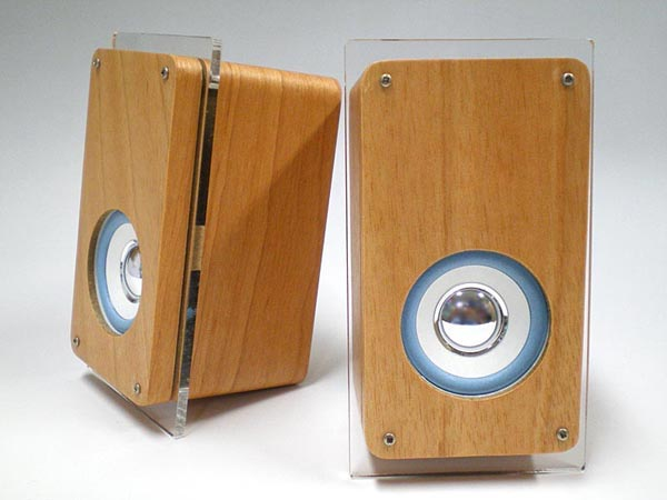 Wooden Speakers With Built In Digital Clock