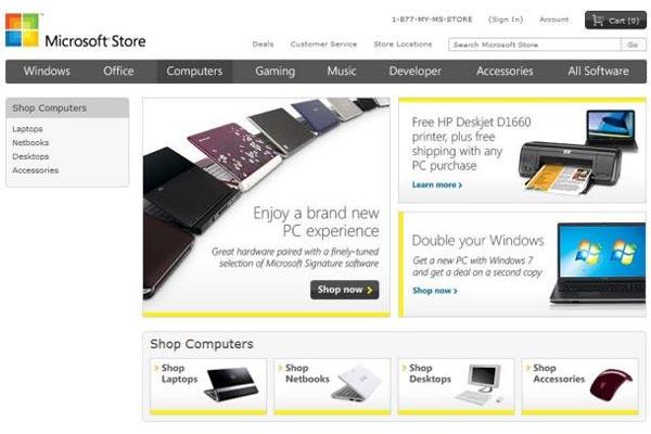 Microsoft Starts Selling Windows7 PCs Online