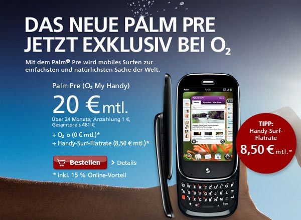 GSM Palm Pre Goes On Sale In Germany