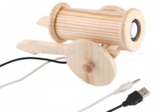 Wooden Canon USB Speaker Plugs
