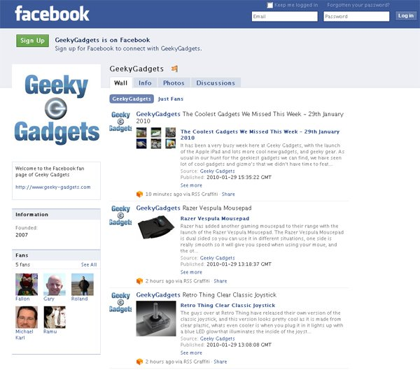 Join Geeky Gadgets On Facebook