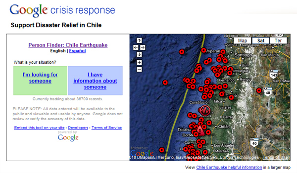Earthquake in Chile is Launching Google People Finder