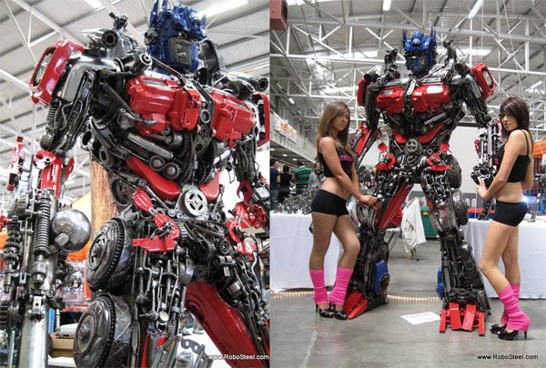Recycled Steel Optimus Prime Stands 2.5 Meters Tall