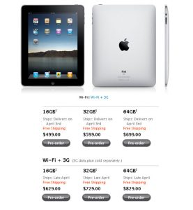 Apple iPad Now Available To Pre-Order From US Apple Store