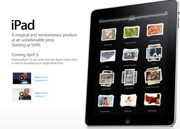 Apple iPad Will Ship In April - Preorders From March 12th 2010