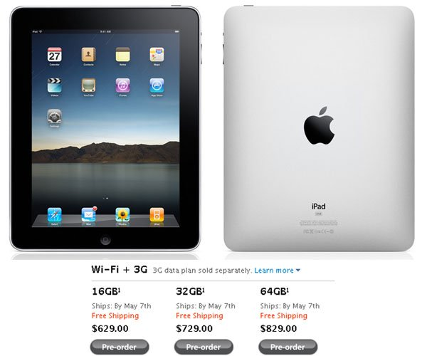 Apple iPad 3G Available In The US May 7th 2010