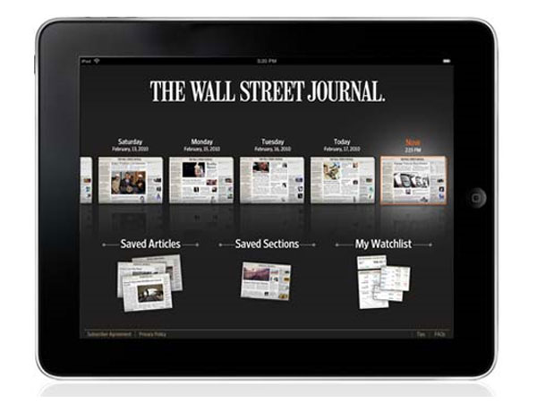 Wall Street Journal iPad Subscription Officially $17.29 Per Month