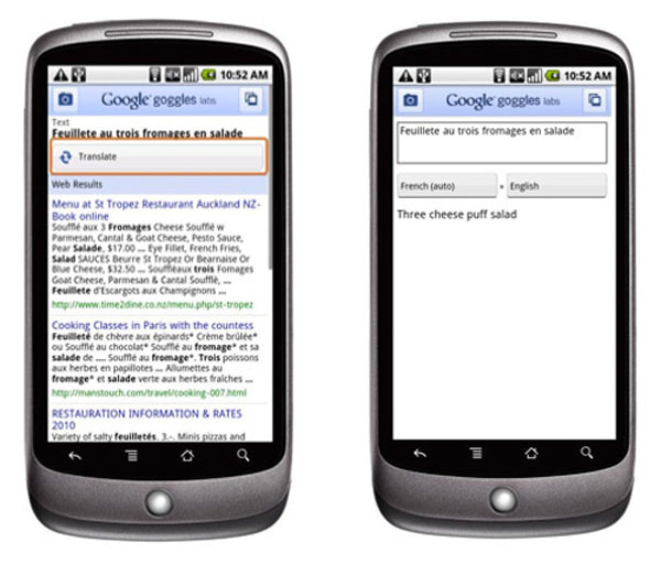 Google Add Text Translation To Google Goggles