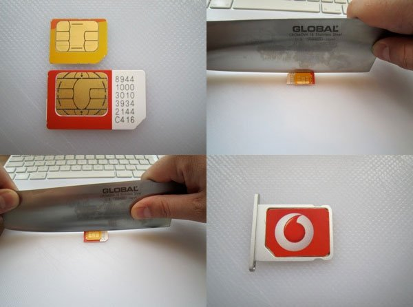 Make Your Own iPad MicroSIM With A Meat Cleaver