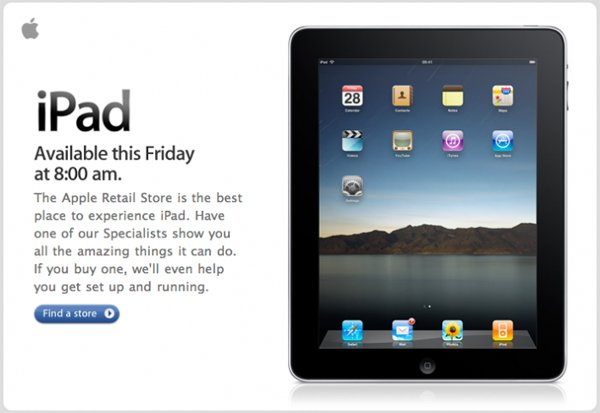 Apple iPad UK - Apple Stores Open At 8.00AM Friday 28th May