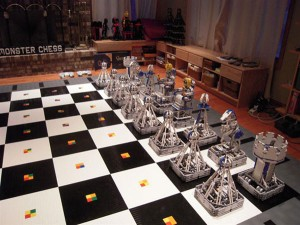 Robotic Monster Chess Set Made From Lego