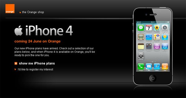 Orange Releases iPhone 4 UK Monthly Contract Plans, Prices Start At £169