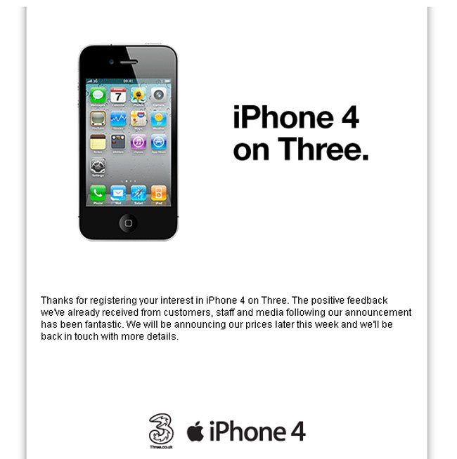 iPhone 4 UK Now Available To Pre Order On Three