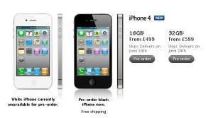 iPhone 4 UK Pay As You Go Prices, 16GB £499, 32GB £599