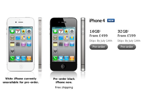 Apple's iPhone 4 UK Pre-orders Now Shipping 14th July