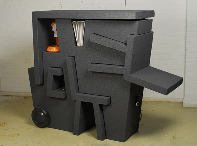 Designed by Tim Vinke the portable office is constructed from EPS foam
