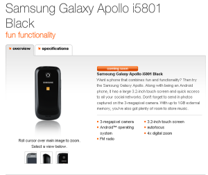 Samsung Galaxy Apollo i5801 Android Smartphone Specifcations Revealed