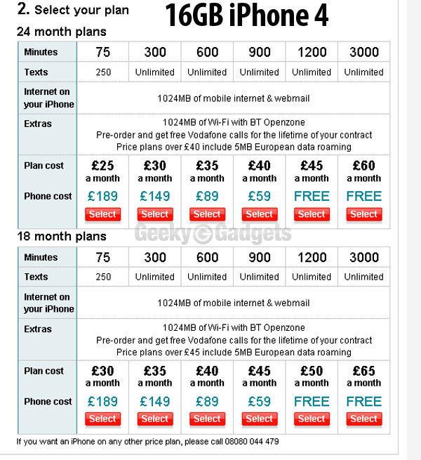 Vodafone Announces iPhone 4 UK Prices, 16GB £189, 32GB £280