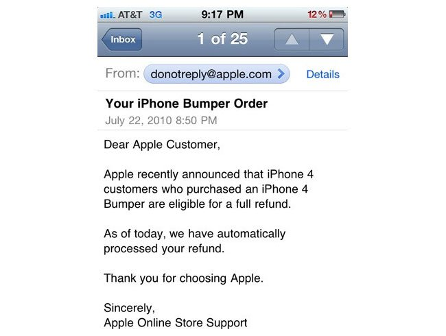 Apple Bumper Refund