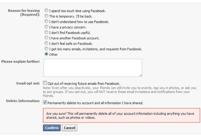 Facebook Account Deletion