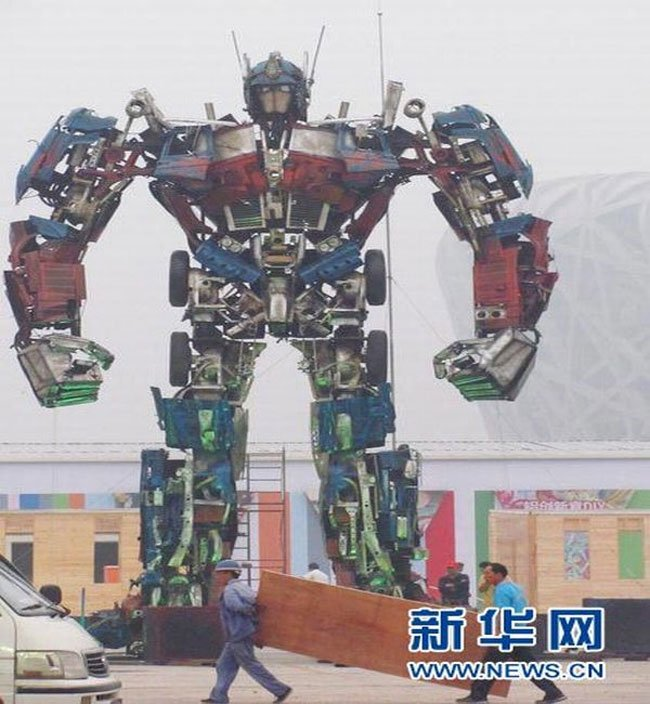 Recycled Optimus Prime Stands 32 Feet Tall