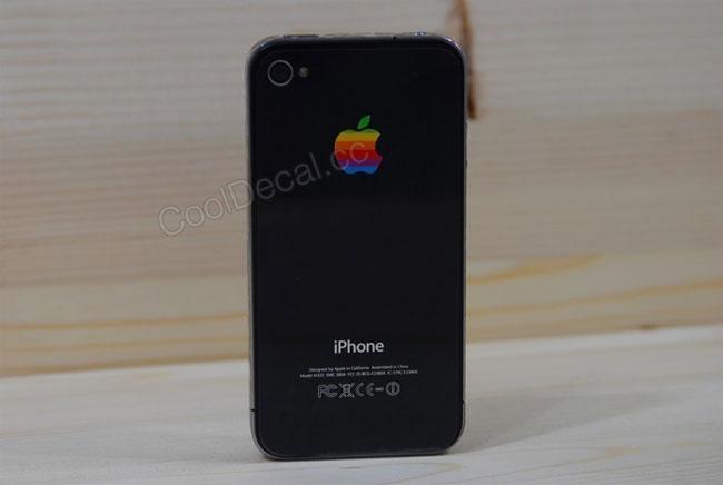 Retro Rainbow Apple iPhone 4 Logo Decal