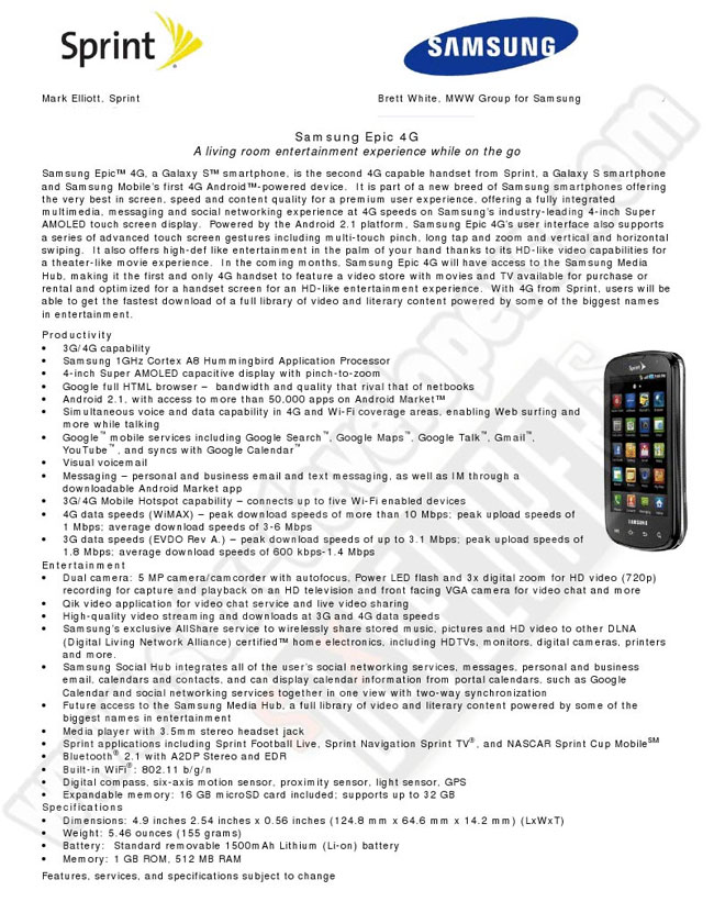 Sprint Samsung Epic 4G Full Specifications