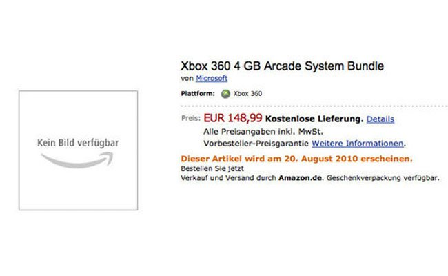 New Xbox 360 Arcade Turns Up On Amazon Germany